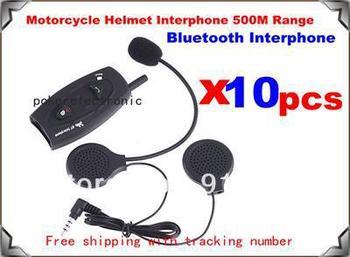 10pcsxBT Bluetooth Interphone 2-Way motorcycle Helmet Interphone 500M Range