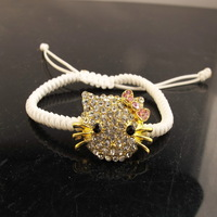 Wholesale gold tone pave White & pink rhinestone hello kitty shamballa charm bracelet.fashion jewelry.Free shipping HKB003
