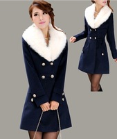 2012 Woolen outerwear women medium long double breasted fur collar wool coat  women winter brand fashion  Free shipping