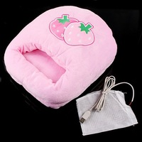 Best Gift! Cute Pink Strawberry Plush USB Foot Warmer Shoes Electric Heat Slipper   Free Shipping