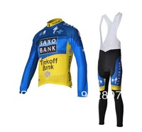 Free shipping! Saxo Bank 2012 team Cycling winter thermal fleece long sleeve bike jersey+bib pants/cycling clothing