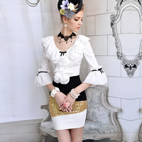 Free Shipping New Arrival slim tight ruffle lantern sleeve Blouse High Quality Elegant Ladies' T-Shirt(White+S/M/L)121218#3