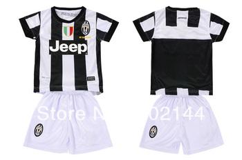 kids gift! 12/13 Juventus home white thai quality kids soccer football jersey+shorts kits,size:16-28