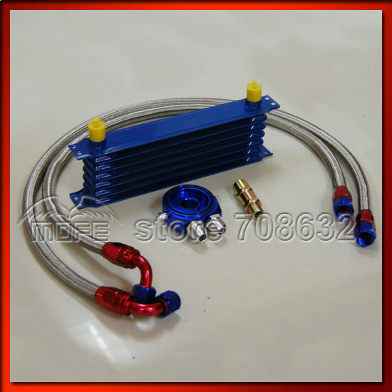 Universal 7 Row 10AN Aluminum Engine Transmission Auto Oil Cooler Kit Blue(China (Mainland))