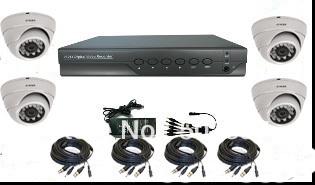 Factory promote 4CH DVR System Security DVR Day/Night IR Surveillance Camera KIT 4*420tvl sharp,4*15M cable,1*power supply,1*DVR