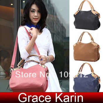 Free Shipping GK Women Real Genuine Leather Litchi Pattern Handbag Shoulder Messenger Bag Tote BG447