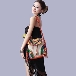 Manufacturers included postage Original design national trend embroidered bag hemp color block handmade bell messenger bag(China (Mainland))