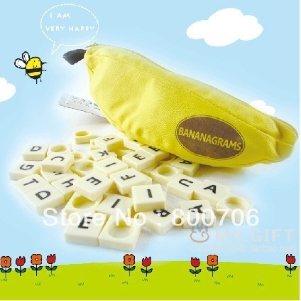 Free Shipping!!Banana Word Game Scrabble Game Crossword Word Anagram Popular Puzzle Toys 120sets!(China (Mainland))