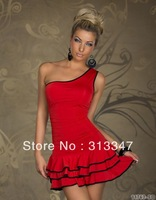 2013 Women Sweet Pleated Party One Shoulder Off Cotton Dress Hot Sale free shipping M94