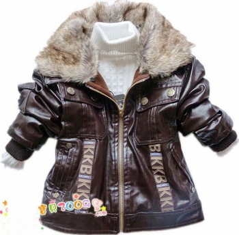 free shipping retail baby boys leather jacket kids thick fleece fur collar winter coat children clothing