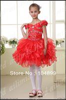 Tiered Ruffled  Wonderful Hot Halter Style Flower Girl Pageant Wedding Dress Custom  Size 2.4.6.8.10.12.14.16.