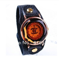 Наручные часы New Fashion women punk style Leopard cow leather ladies hand hour wrist watch drak orange and purple color