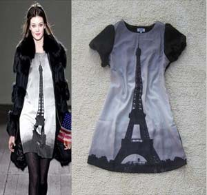2013 New Fashion Women Summer Clothing Novelty Lady's Chiffon Brand Dress Paris Eiffel Tower Print Dresses