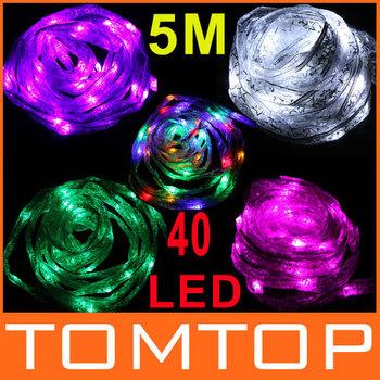EU Plug 220V 5M 40 LED Ribbon Light Christmas Decoration Colorful/Green/Pink/Purple/White LED String Light