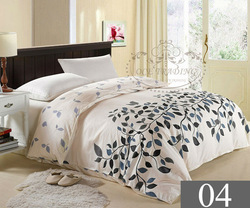 Free shipping,15% Off Twin Full Queen King size #4 black leaf floral pattern bedding 100% cotton printed duvet cover,bed lined(China (Mainland))