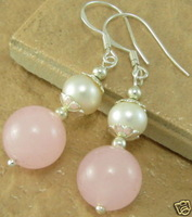 Natural Pink Jade White Pearl Earrings