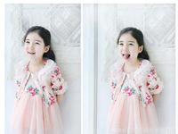 free shiping girls summer sets 2013   Girls vest dress + cotton jacket  pink and beige