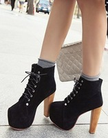 Free Shipping,Black Faux Suede Lace Up Vintage Wooden High Heel Platform New Arrivals Ankle Boots,US 5-8.5,Womens/Ladies Shoes