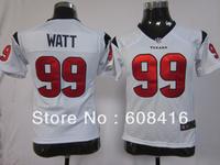 Free Shipping ,2013 NEw Style Houston #99 J.J. WATT Women's Football 10th Patch Jerseys Size S-2XL ,Can mix order