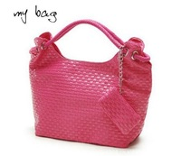 2013 hot selling woven pu leather popular women shoulder bags free shipping factory sale A461
