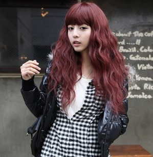 Free shipping Wine red bulkness fashion personality scroll wig(China (Mainland))