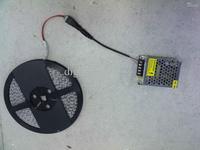 24W 5m 3528 smd blue/green/white led light strip waterproof 60leds/M + 110-240V power adapter
