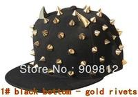 Free Shipping Korean punk rivets hip-hop cap, Ox horn flat brimmed hat, Adjustable Bboy caps, Snapback hats 10pcs/lot