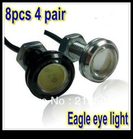 Free shipping 8PCS 4pair 3W 12VSlim car led reversing light eagle eye lamp Backup Stop Tail daytime running light White Color