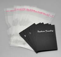 100Sets Black Earring Display Cards 7cmx5cm W/ Self Adhesive Bags 11.5cmx6cm