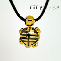 Centenarian turtle Tortoise 925 silver gold plated necklace