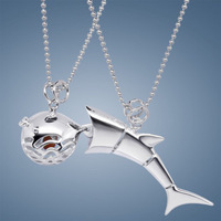 Galeoid 925 pure silver agate pendant shark puffer necklace pendant