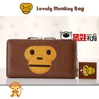 Lovely monkey wallet purse medium hasp wallet free air mail