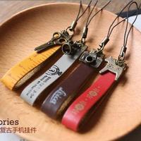 Zakka genuine leather vintage charm mobile phone chain pendant free air mail