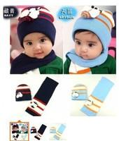 Baby infant knit cap + scarf  knit beanie suit MZ0019