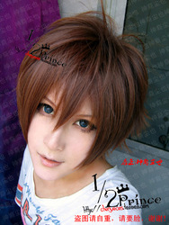 LI SYAORAN Pure Brown Short Straight Anime Cosplay Costume Wig.Synthetic Hair.Free Shipping(China (Mainland))