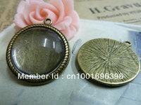 20pcs/lot New Wholesale Fashion bronze round cameo cabochon base setting 20mm Pendant Blanks