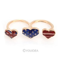 Wholesale - 16pcs 2013 Jewelry New Fashion Retro Style Enamel USA Flag Heart Design Double refers to rings 60095