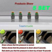 4pcs/set Tire Pressure Monitor Valve Stem Caps Sensor LED Indicator 3 color Eye Alert 36PSI free shipping