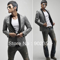 South Korea Hot-Selling! Double Contrast Color Neck Plover One Button Men's Leisure Suit Blazers With Size M/L/XL,Free Shipping
