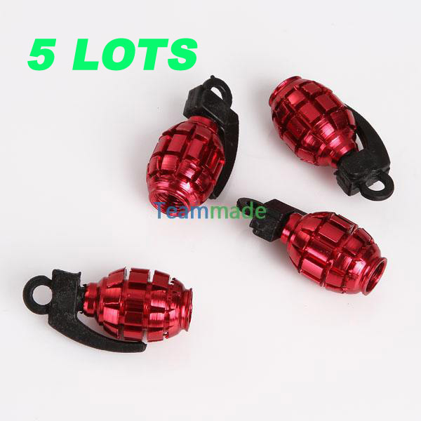 4 pcs/set Metal Grenade Design Car Motorcycle Bike Tire Tyre Valve Dust Caps Red Tyre Valve stems Aluminum Alloy(China (Mainland))