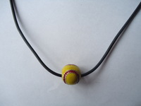 Yellow baseball necklace softball coiled necklace Pendants