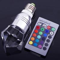 5W E27 16 Colors Change RGB LED Light Bulb Lamp 85-265V plus IR Remote Control  20134