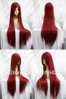 Free shipping>>>X86@ New Long Dark Red Cosplay Party Straight Wig 100cm