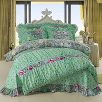 Free shipping! Quilt Ladies cotton bedding princess cake layer three bow + family of four multi-standard Bedding items Sheets