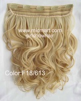 Clip in hair, long wavy hairpiece ,clip in wavy hairpieces, color F18/613 #, 55cm to 60cm,1 pcs
