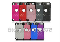 2 in 1 Hybrid Starring Diamond Bling Silicone+PC hard Case For iPod Touch 5 5th