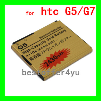High Capacity 2430Mah Gold Replacement Battery For HTC Desire A8181 G5 / Google Nexus One G7 quality guarantee