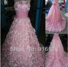 Hot Pink Strapless Bow Long Court Train wedding dress 2013 discount open back Bridal dresses A Line Sash Flower(China (Mainland))