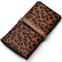 Hot selling soft sheepskin horsehair leopard print women's wallet long design genuine leather wallet for female fashion wallet