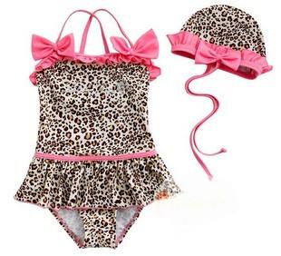 2013 Summer Kids swimwear baby girls pink leopard print child swimsuit + swimming cap